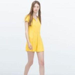 Zara Front Pleat Jumpsuit Romper in Yellow Sz XS